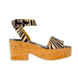NEW H&M cork zebra wedge Platform ankle strap clog